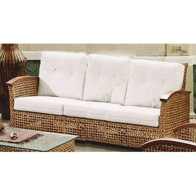 Hospitality Rattan Pegasus Rattan Sofa with Cushions - Fabric: Seaworthy Coral Red at Sears.com