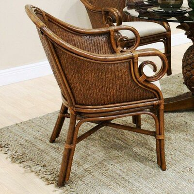 Low Price Hospitality Rattan Sunset Reef Arm Chair Upholstery: Bahamian Bree Surf