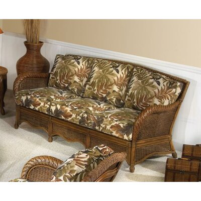 Hospitality Rattan Turks Bay Rattan Sofa with Cushions - Fabric: Seaworthy Coral Red at Sears.com