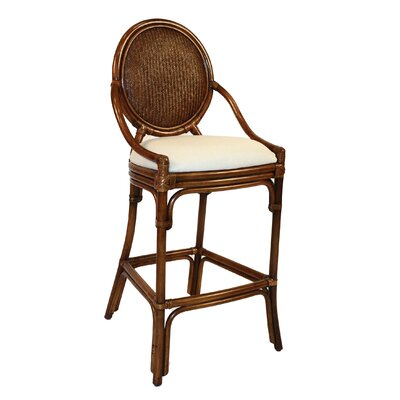 """Hospitality Rattan Oyster Bay 30"""" Bar Stool - Upholstery Color: Rave Brick at Sears.com"""