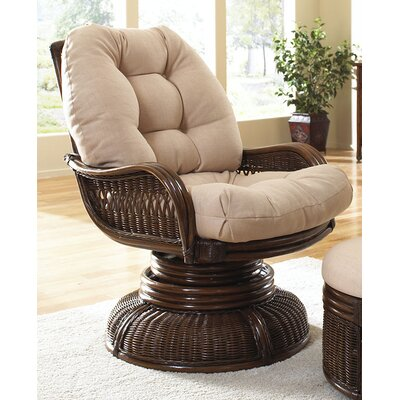 Hospitality Rattan Legacy Swivel Rocking Chair with Cushion - Fabric: Tropic Tobacco at Sears.com