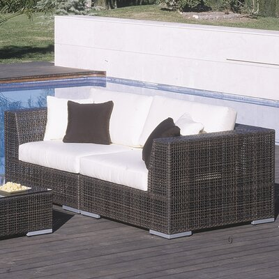 Soho 2 Piece Deep Seating Group with Cushions Umbrella Fabric: Foster Metallic