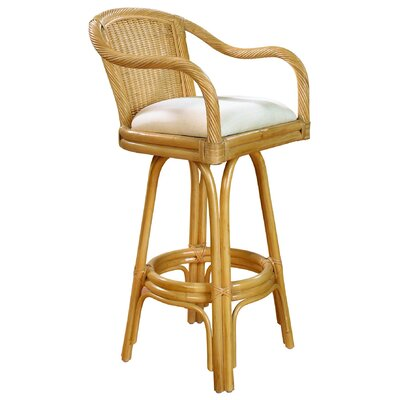Hospitality Rattan Key West  Barstool with Cushion - Frame Finish: Natural, Seat Color: Bahamian Breeze Surf at Sears.com