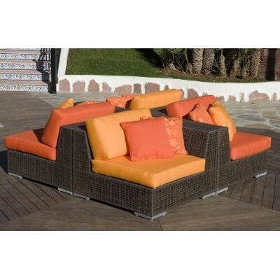 Soho 4 Piece Sectional Deep Seating Group with Cushions Fabric: Dupione Palm