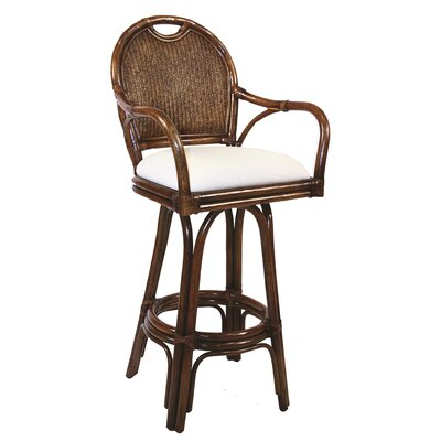"""Hospitality Rattan Classic 24"""" Swivel Bar Stool  - Upholstery Color: Seaworthy Coral Red at Sears.com"""