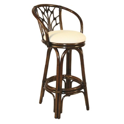 """Hospitality Rattan Valencia 30"""" Barstool with Cushion - Seat Color: Beige, Frame Finish: Antique"""