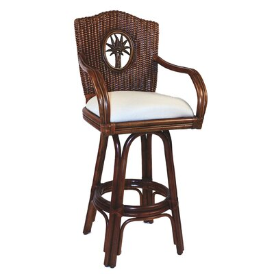 Lucaya 30 Swivel Bar Stool Upholstery: Patriot Blueberry