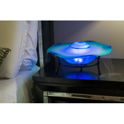 Image of Glass/Metal Canary Table Top Mist Fountain/Aroma Diffuser with LED Light Finish: Blue