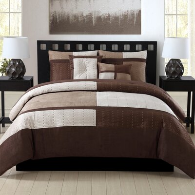 Nordland 5 Piece Comforter Set Size: King, Color: Brown