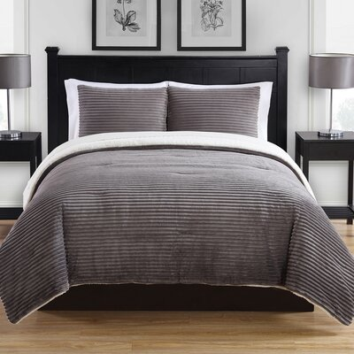 Ribbed Plush 3 Piece Comforter Set Size: Full/Queen, Color: Gray