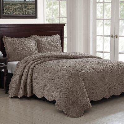 Estate 3 Piece Luxury Quilt Set Size: Full/Queen, Color: Dark Tan