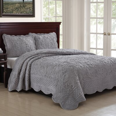 Estate 3 Piece Luxury Quilt Set Size: Full/Queen, Color: Gray