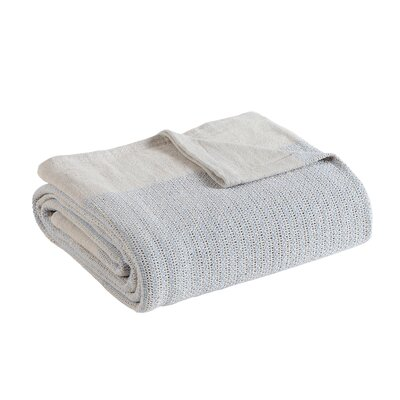 Allure Thermal Cotton Blanket Size: Full/Queen, Color: Blue/Cream