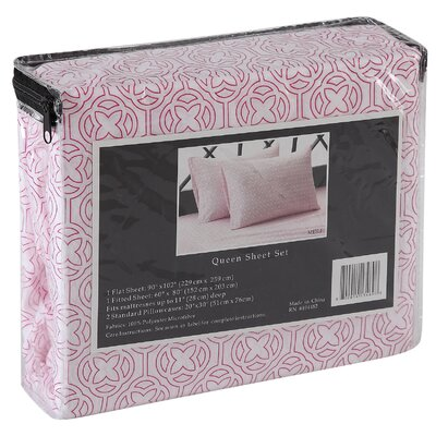 Meili Flower 4 Piece Sheet Set Size: King