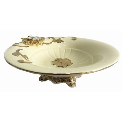 Round Footed Ceramic Decorative Bowl