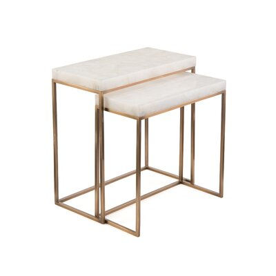 Calcite 2 Piece Nesting Tables Table Base Color: Brass