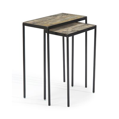 Gilded Onyx Stacking 2 Piece Nesting Tables
