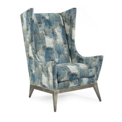 Wingback Chair Upholstery: 1048 Fabric, Finish: Brushed Silver