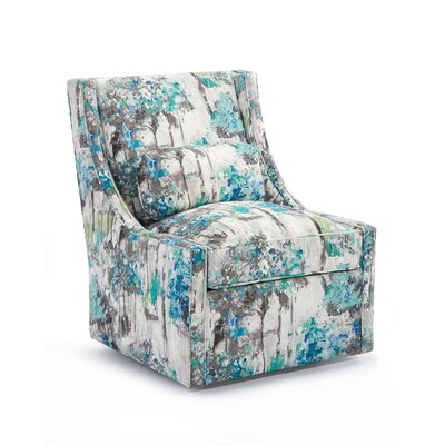 High Back Armless Swivel Club Chair Upholstery: 2048 Fabric