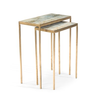 Lustrous Sky Stacking 2 Piece Nasting Tables