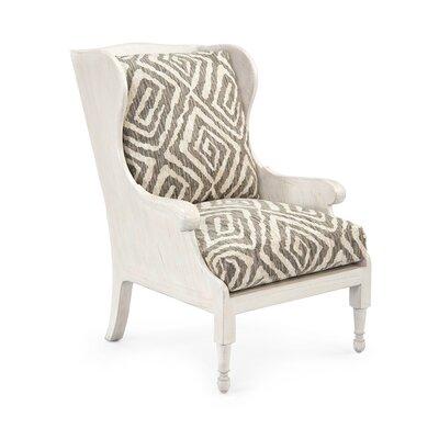 Scandinavian Wingback Chair Upholstery: 2052 Fabric, Finish: Whitewashed