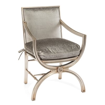 Eglomise Arabesque Back Arm Chair Upholstery: 2061 Fabric, Finish: V64 Transitional Silver