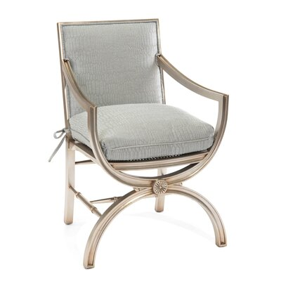 Eglomise Arabesque Back Arm Chair Upholstery: 2060 Fabric, Finish: V64 Transitional Silver