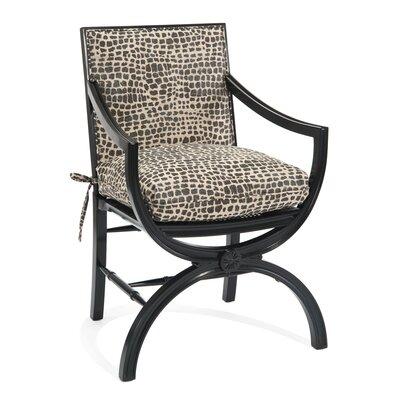 Eglomise Arabesque Back Arm Chair Upholstery: B191 Fabric, Finish: V60 Ebony