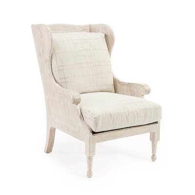 Scandinavian Wingback Chair Upholstery: 2098 Fabric, Finish: Whitewashed