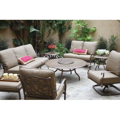 Florence 8 Piece Deep Seating Group with Cushions Frame Finish: Mocha