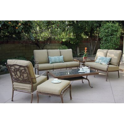 Florence 6 Piece Deep Seating Group with Cushions Frame Finish: Mocha