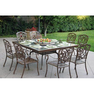 Florence 10 Piece Dining Set with Cushions Finish: Antique Bronze