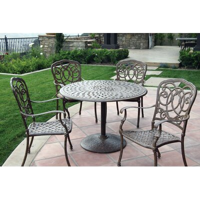 Florence 5 Piece Dining Set with Cushions Finish: Antique Bronze