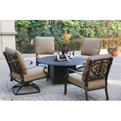Santa Barbara 5 Piece Fire Pit Seating Group with Cushions Frame Finish: Antique Bronze