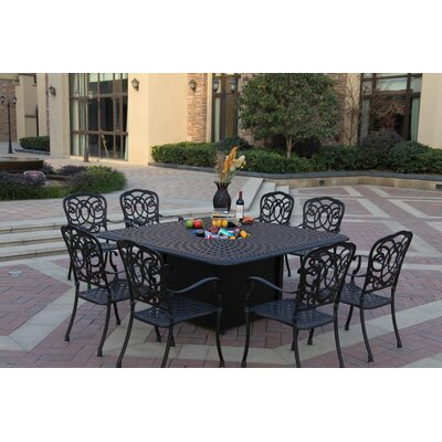 Florence 9 Piece Dining Set with Cushions Finish: Antique Bronze