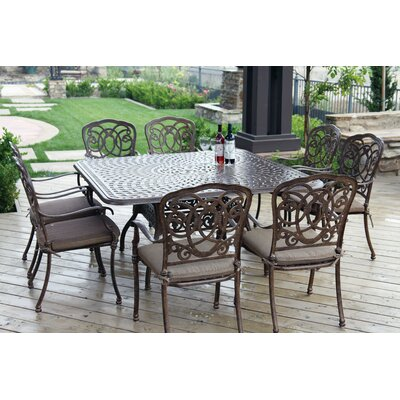 Florence 9 Piece Dining Set with Cushions Finish: Mocha