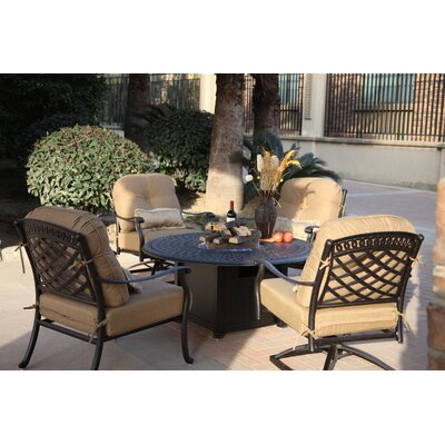 Sedona 5 Piece Fire Pit Seating Group with Cushions Frame Finish: Antique Bronze