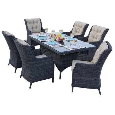 Valencia 7 Piece Dining Set with Cuhions