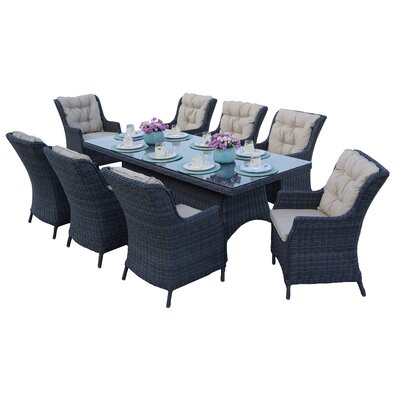 Valencia 9 Piece Dining Set with Cushions