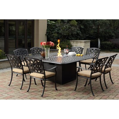 Ocean View 9 Piece Dining Set with Firepit and Cushion