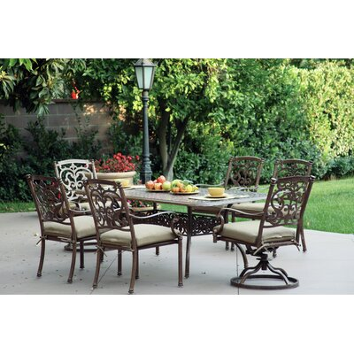 Santa Barbara 7 Piece Dining Set with Cushions Finish: Mocha