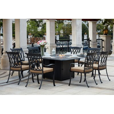 Capri 9 Piece Dining Set with Cushions