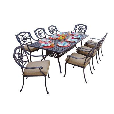 Ten Star 9 Piece Dining Set with Cushions