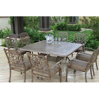 Astoria Grand Palazzo Sasso 9 Piece Square Dining Set with Cushions Finish: Mocha