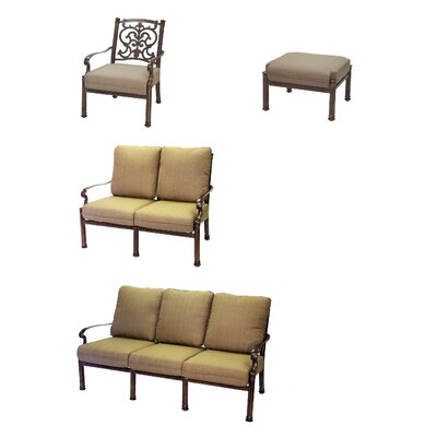 Santa Barbara 4 Piece Deep Seating Group with Cushions Frame Finish: Mocha