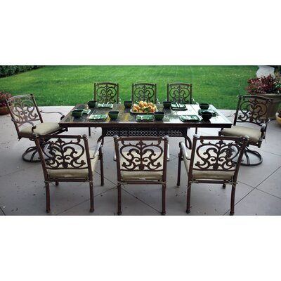 Santa Barbara 9 Piece Dining Set with Cushions Finish: Mocha