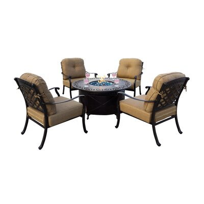 Sedona 5 Piece Fire Pit Seating Group with Cushions