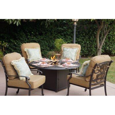 Santa Monica 5 Fire Pit Seating Group with Cushions