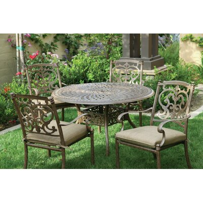 Santa Barbara 5 Piece Dining Set with Cushions Finish: Antique Bronze