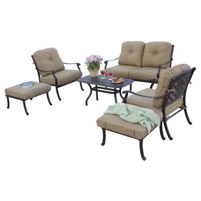 Sedona 6 Piece Deep Seating Group with Cushions Frame Finish: Antique Bronze